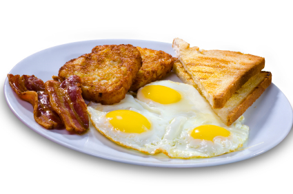Breakfast, fried eggs, toast, bacon